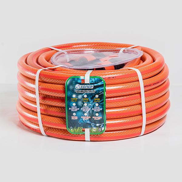 Шланг полив. Д=3/4 (20м), 3-х сл. армир. PREMIUM с коннекторами (оранж. с красной полосой)