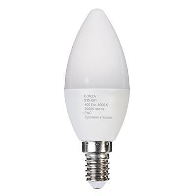 Лампа светодиодная свеча С37 5W, Е14, 400lm 4200K FORZA