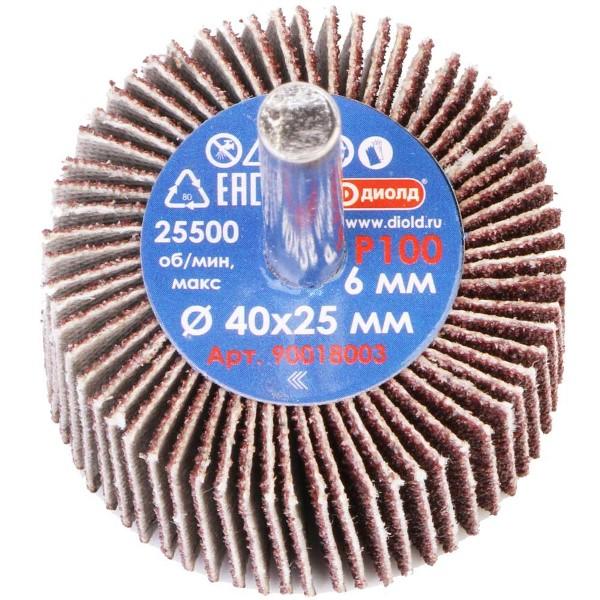 Круг лепестковый абразивный радиальный d 40x25мм, хвостовик d 6, P100