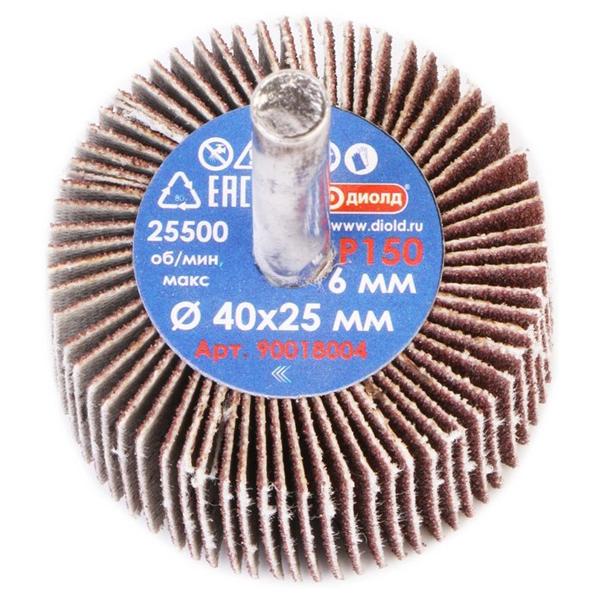 Круг лепестковый абразивный радиальный d 40x25мм, хвостовик d 6, P150