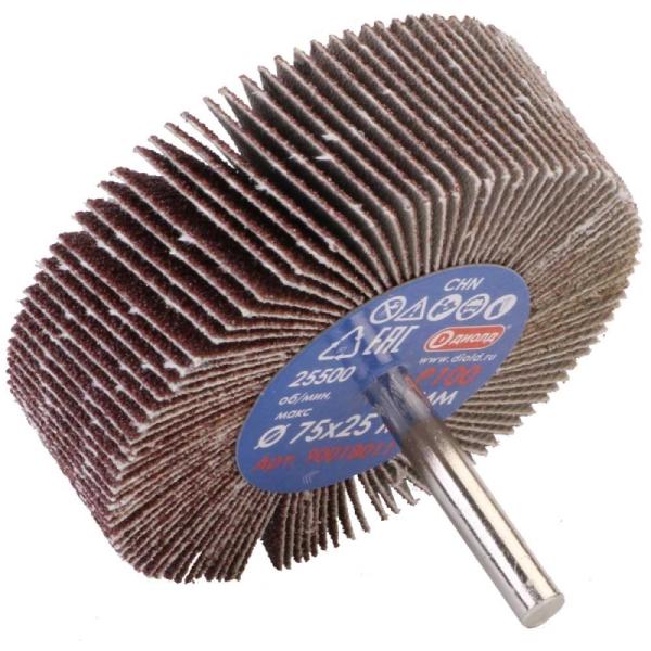 Круг лепестковый абразивный радиальный d 75x25мм, хвостовик d 6, P100