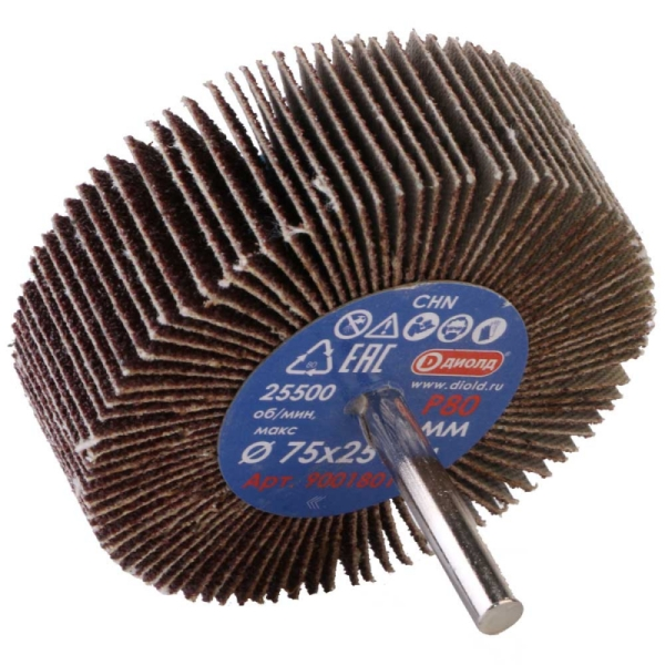 Круг лепестковый абразивный радиальный d 75x25мм, хвостовик d 6, P80