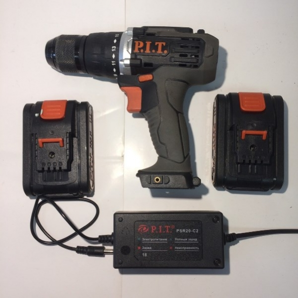 Дрель аккумуляторная c функцией удара ,18В., 2 Li акк.2Ач,2 ск,60Нм,металл.патрон,фикс.шпинделя