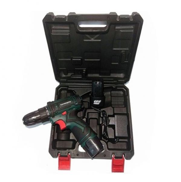 Аккумуляторная дрель-шуруповерт, 12В, Li-ion, 2Ач, 25Нм, 0-400/0-1400 об/мин.